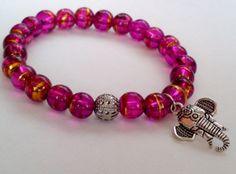 Elephant Charm Bracelet -  Rainbow - Glass Beads - Jewelry - Charms Beaded Bracelets Womens - Stretch - Elastic