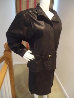 Heritage Classic made in Canada Womens Black Texture Leather Skirt Suit sz 12 #HeritageClassic #LeatherSkirtSuit
