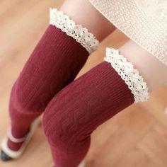 High Knee Socks Thigh High Socks Women's Stockings Lace Warm Socks Women Sexy Stocking Medias Pantyhose Female Stockings WZ1054