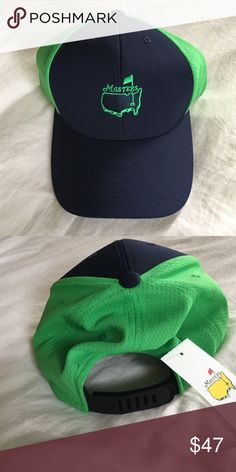 de36b6e45f5 2016 MASTERS NEON GREEN NAVY PERFORMANCE GOLF HAT Masters green and navy  performance golf hat. New with tags! Velcro closure. Masters Golf  Accessories Hats