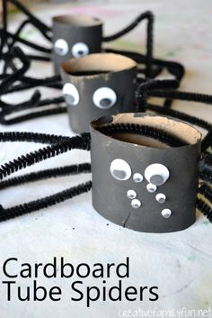 Love the googly eyes! Cardboard Tube Spiders - #Halloween craft for kids. #preschool (repinned by Super Simple Songs)