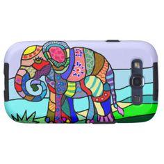 Colorful Vibrant Folk Art Abstract Flower Elephant Galaxy SIII Case