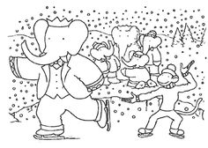 Babar Playing Ice Skating On The Winter Coloring Page