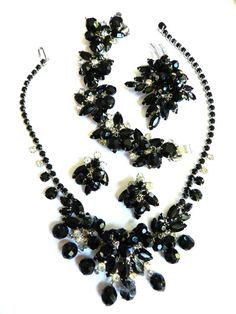 Vintage Parures @ Ruby Lane - Black Tie Ready Vintage Juliana Jet Black Crystal Drippy Grand Parure Necklace, Bracelet, Earrings & Brooch