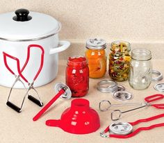5 PIECE CANNING/STERILIZATION SET Home-canning kit provides 5 essential tools.. Jar lifter and magnetic lid lifter for removing jars and lids from boiling water. Canning funnel directs ingredients into the jar quickly and cleanly. Kitchen tongs