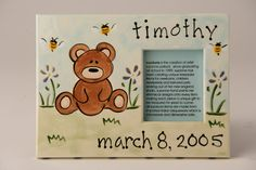 Hand Painted, Personalized, Photo Frame / Bear