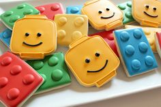 Lego Cookies Lego-mania is running wild so to celebrate weve created these fun Lego cookies. A super cool treat/favor for a birthday party or any time of the week when its time for a cookie! The post Lego Cookies was featured on Fun Family Crafts. Man Cookies, Cupcake Cookies, Sugar Cookies, Ladybug Cookies, Cookies Kids, Logo Cookies, Iced Cookies, Lego Birthday Party, Birthday Parties