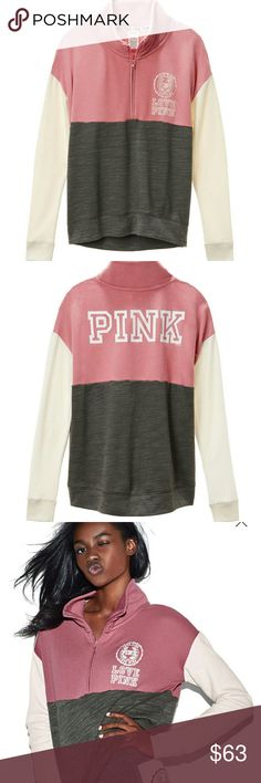 ❤☺BNIP! (L) VS PINK  HALF ZIP PULLOVER SWEATSHIRT❤ ❤***ALL ORDERS WILL BE PHOTOGRAPHED BEFORE SHIPMENT***❤  🎀*SIZE (L) VS PINK HALF ZIP PULLOVER SWEATSHIRT W/ PINK CREST SIGN ON FRONT/PINK SIGN ACROSS BACK/*🎀 (COLOR SOFT BEGONIA, GRAY AND WINTER WHITE SLEEVES)  ✨*BRAND NEW IN PACKAGE*✨ ✨*ONLINE ORDERS DO NOT COME WITH HANGING TAGS*✨  ❤*MEASUREMENTS LYING FLAT: (APPROXIMATELY) ARMPIT TO ARMPIT 20 IN SLEEVES 26 IN LENGTH NECK TO BOTTOM 26 IN (PLEASE KNOW YOUR MEASUREMENTS)  THANKS FOR…