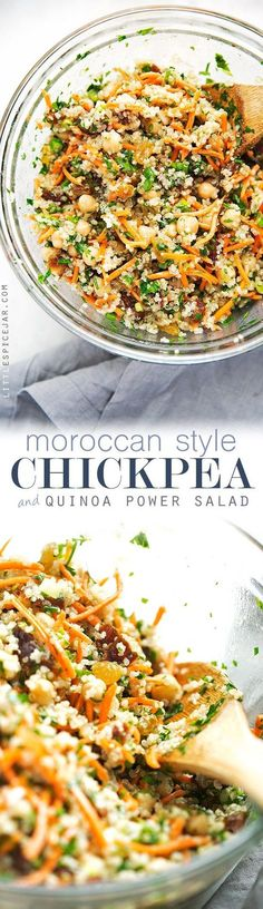 Moroccan Chickpea Quinoa Power Salad - A quick salad loaded with sooo much flavor and it's perfect as a side or a main meal! Moroccan Chickpea Quinoa Power Salad - A quick salad loaded with sooo much flavor and it's perfect as a side or a main meal! Moroccan Chickpea Salad, Moroccan Salad, Moroccan Couscous, Power Salat, Vegetarian Recipes, Healthy Recipes, Vegan Vegetarian, Vegetarian Times, Vegetarian Dinners