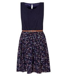 Blue Lace Ditsy Print 2 in 1 Belted Dress from New Look Floral Lace Dress, Lace Dress Black, Blue Lace, Belted Dress, Dress Collection, New Look, Two Piece Skirt Set, Ditsy, Clothes