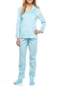 Karen Neuburger Aqua Dot Minky Pajama Set with Socks