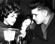 PHOTOSHOPPED !!! NOT Priscilla  but Irene Mann is arm wrestling with Elvis  in The Eve Bar in Munich, Germany 1959