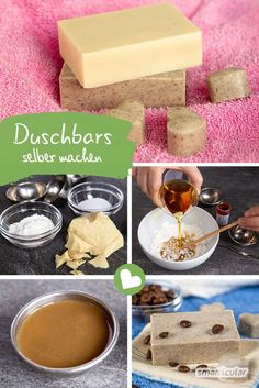 Festes Duschgel: Natürliche Dusch-Bars selber machen aus 3 Zutaten Shower bars are a particularly mild alternative to liquid shower gels or body soaps. With this recipe of three ingredients, you can c Diy Beauty, Beauty Care, Beauty Hacks, Beauty Tips, Beauty Skin, Face Beauty, Beauty Products, Homemade Beauty, Beauty Secrets