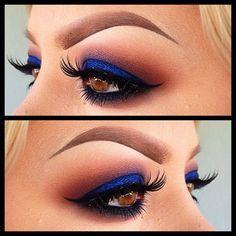 eyeliner bleu et fard pêche