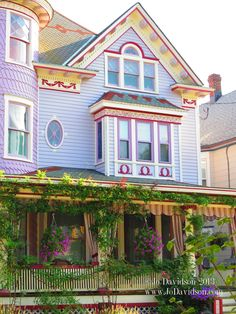 [Most likely Ocean Grove, New Jersey.] Ocean Grove Victorian home. Well thought out choice of colors for this painted lady Victorian Style Homes, Victorian Life, Victorian Cottage, Victorian Dollhouse, Beautiful Buildings, Beautiful Homes, Painted Lady House, Purple Home, Unusual Homes