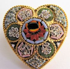Vintage Italy Micro Mosaic Heart Flower Brooch Rose Pin Signed Gold Tone #Unbranded
