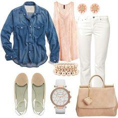 Very very cute outfit.  White pants, denim shirt, peach top