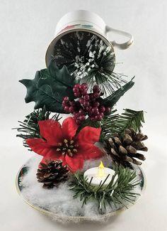Christmas floating tea cup centerpiece