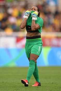 #RIO2016  Barbara of Brazil reacts to a teammate's missed chance on goal during the Women's Football first round Group E match between...