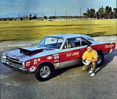 Dick Landy and his Hemi Dart Old American Cars, Dodge Muscle Cars, Nhra Drag Racing, Old Race Cars, Vintage Race Car, Drag Cars, Car Humor, Hot Cars, Mopar