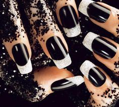 black - silver sparkly french - nails art
