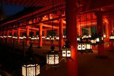 万灯籠【奈良県】GoogleMap:http://goo.gl/maps/8hHwp  春日大社の万灯籠は、約800年昔から行われて来た行事。 もともとは雨乞いのため灯火が献じられてきた。 明治維新までは毎晩常夜灯として火を灯してきたと言われるが、現在は2月の節分と8月の中元の夜にのみ、境内にある3000基の全ての燈籠に火が灯される。
