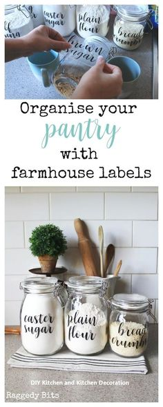 Organise your Pantry with Farmhouse Pantry Labels, Home Decor, Using some Ikea Korken Jars and some labels see how to Organise your Pantry Using Farmhouse Labels to make things easier in your kitchen Pantry Labels, Kitchen Labels, Kitchen Jars, Pantry Organization Labels, Ikea Kitchen Organization, Ikea Pantry, Pantry Storage, Kitchen Cupboard, Kitchen Storage Jars
