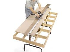 Outriger extensions for both sides of table saw - WOOD Community Woodworking Table Saw, Woodworking Workshop, Woodworking Jigs, Carpentry, Woodworking Projects, Diy Wood Projects, Cierra Circular, Cutting Tables, Shop Layout