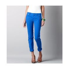 Modern Rolled Cuff Straight Leg Jeans In Stretch Cotton Twill found on Polyvore