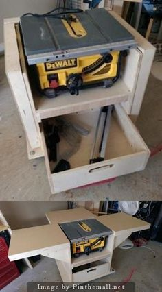 Homemade workstation I built for my new table saw.: - Homemade workstation I built for my new table saw.: Homemade workstation I built for my new table saw. Woodworking Workshop, Woodworking Bench, Woodworking Crafts, Woodworking Projects, Woodworking Jigsaw, Woodworking Classes, Popular Woodworking, Woodworking Machinery, Youtube Woodworking