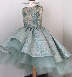 Custom made dress with lace appliqués for very special princess 👸🏼🌸✨💎 Little Girls Fancy Dresses, Little Girl Gowns, Gowns For Girls, Frocks For Girls, Kids Frocks, Little Girl Fashion, Little Girl Dresses, Flower Girl Dresses, Princess Outfits