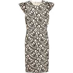Jacquard-weave Dress $59.99 (17.595 HUF) ❤ liked on Polyvore featuring dresses, flutter-sleeve dress, short floral dresses, floral jacquard dress, fitted dresses and jacquard dress