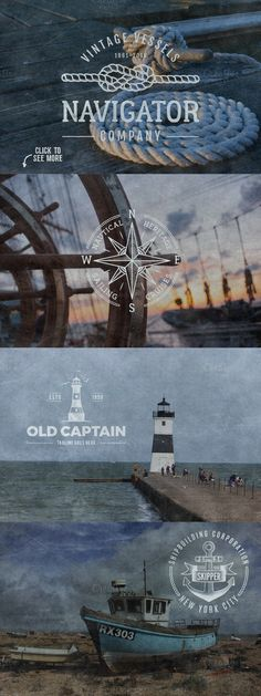 Vintage Nautical Logo Collection by JeksonGraphics on @creativemarket