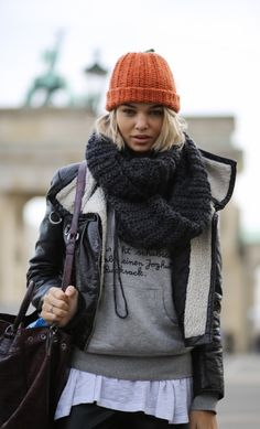 women, fashion, style, clothing, winter, scarf, gray, hat, orange, handbag, jacket, black, hood, blonde