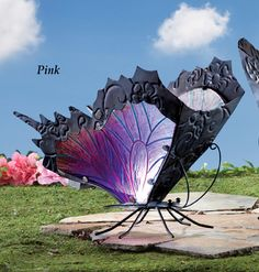 Solar Pink Glass Butterfly Statue