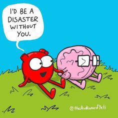 Despite their differences, heart and brain are like two peas in a pod Akward Yeti, The Awkward Yeti, Heart And Brain Comic, Funny Images, Funny Pictures, Funny Cute, Hilarious, Videos Instagram, Head And Heart