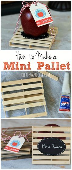 How to make a Mini Pallet out of Popsicle sticks.  Easy step by step tutorial to create a mini pallet which can be used as a drink coaster.   Great gift idea for Teachers or any pallet lovers in your life