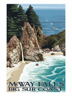 Julia Pfeiffer Burns State Park Big Sur California, California Travel, Vintage California, National Park Posters, National Parks, Autumn Art, Vintage Travel Posters, Places To Go, Wall Art