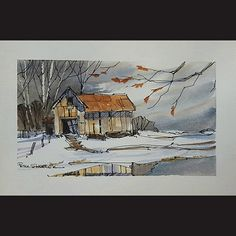 A line and wash tutorial of a Bar in Winter Watercolor. Simple and fun. With Peter Sheeler. My videos are intended. Watercolor Barns, Watercolor Video, Pen And Watercolor, Watercolour Tutorials, Watercolor Techniques, Watercolor Landscape, Painting Techniques, Landscape Paintings, Watercolor Paintings