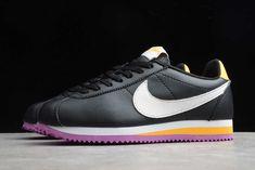 2020 Nike Classic Cortez WMNS Black/Laser Orange/Vivid Purple/Summit White 807471-022 Cortez Shoes, Nike Shoes, Sneakers Nike, Nike Classic Cortez, Color Combinations, Nike Women, Kicks, Black Leather, Orange