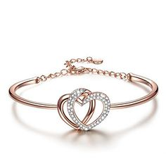 """50% OFF SALE PRICE - $26.99 - J.NINA """"Love Coronation"""" Made with Swarovski Crystals, 7 Inches Rose Gold Plated Heart Women Bangle Bracelet, Best Gift for her"""