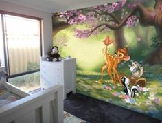 Bambi Butterfly Fun... I want this mural in my girls room its perfect!