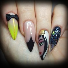 Evil Queen Grimhilde  by getbuffednails from Nail Art Gallery