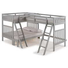 Alaterre Furniture Aurora Dove Gray Twin Adjustable Bed at Lowe's. Aurora is a versatile, mission bunk bed. With its Brazilian Pine construction this bed is well made for your family. Triple Bunk Beds, Full Bunk Beds, Kids Bunk Beds, Twin Beds, Bunk Bed Sets, Bunk Bed Rooms, Wood Bunk Beds, Bunk Beds Small Room, Bedrooms