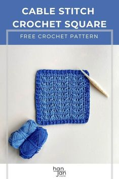 The Rialto crochet cable stitch square pattern is a quick and easy textured motif that is perfect for crochet blanket making, tableware and much more. With a simple pattern repeat and post stitch border, it's a great one to add to your collection. Including a free pattern and video tutorial from HanJan Crochet. #crochetcablestitch #crochetcablestitchpattern #decorativecrochetstitch Crochet Squares, Crochet Blanket Patterns, Stitch Patterns, Crochet Cable Stitch, Crochet Stitches, Simple Pattern, Free Pattern, Crochet Patterns For Beginners, Learn To Crochet