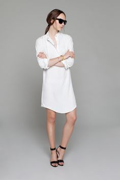 Bib Shirt Dress - Ivory | Emerson Fry