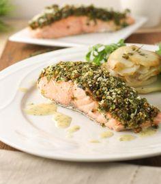 Pistachio Pesto Crusted Salmon [pistachio, basil, parsley, garlic, EVOO, s, breadcrumbs, salmon, lemon, dijon mustard, s]