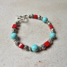 Bohemian Turquoise and Coral Beaded  Bracelet by The Mermaid Apothecary via Etsy.com