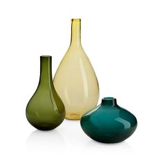 I like the green and blue! Clio Vases  | Crate and Barrel