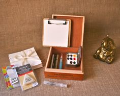 Leather Lined Cigar Box Watercolor Paint and di BlackOakArtisans